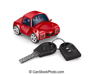 car and key Isolated 3D image