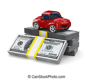 Red car on dollars Isolated 3D image