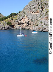 Sa Calobra bay in Mallorca - Turquoise mediterranean sea in...