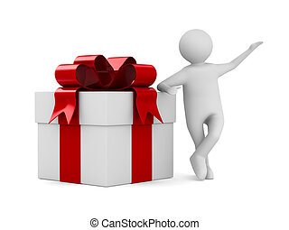 Man with white gift box. Isolated 3D image