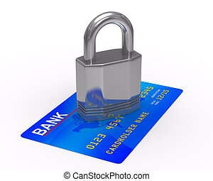 credit card with lock. Isolated 3D image