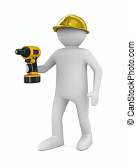 man with drill on white background. Isolated 3D image