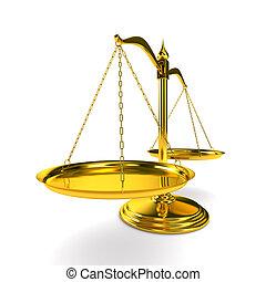 BALANCES, justice, blanc, fond, isolé, 3D, image