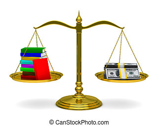 Books and money on scales Isolated 3D image