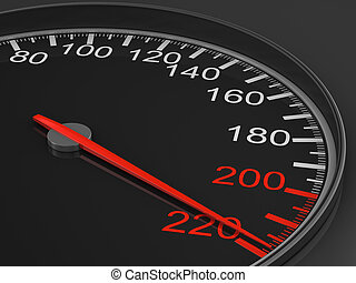 speedometer on black background 3D image