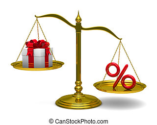 Gift box and percent on scales Isolated 3D image