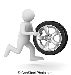 man with disk wheel on white background Isolated 3D image