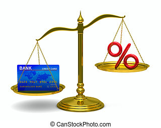 credit card and percent on scales Isolated 3D image