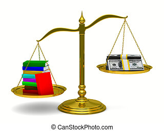 Books and money on scales. Isolated 3D image