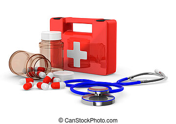 First aid kit on white background Isolated 3D image