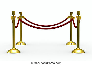 Gold stanchions on white background Isolated 3D image