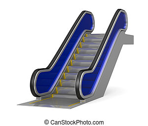 escalator on white background. Isolated 3D image