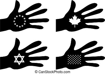 handy identity - collection of silhouette hands holding flag...