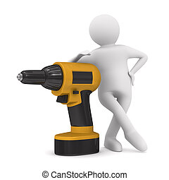 Drill and man on white background Isolated 3D image