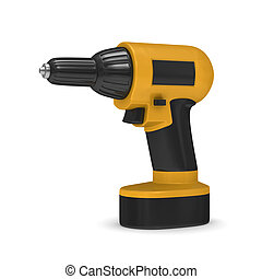 Drill on white background Isolated 3D image