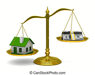 House and money on scales Isolated 3D image