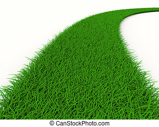 road from grass on white Isolated 3D image