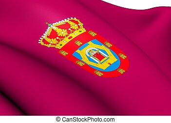 Flag of Ciudad Real City, Spain. Close Up.