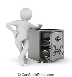 man and safe on white background Isolated 3D image