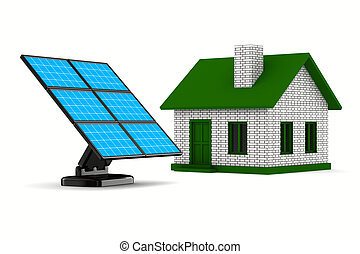solar battery and house on white background. Isolated 3d...