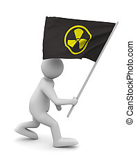 radiation symbol on flag. Isolated 3D image