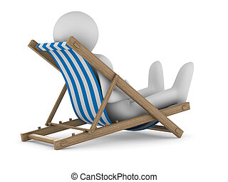 Deckchair on white background Isolated 3D image