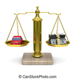 car and cashes on scales Isolated 3D image