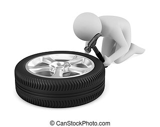 man repairs wheel Isolated 3D image