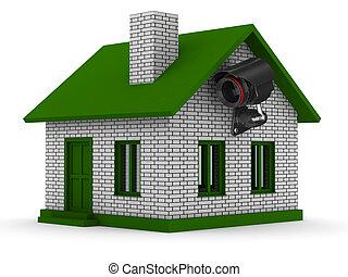 Seguridad, cámara, casa, aislado, 3D, imagen