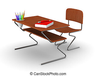 School desk and chair Isolated 3D image