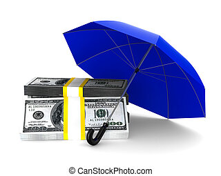 Protection of money Isolated 3D image on white background