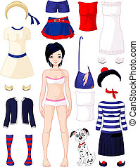 Paper doll with clothing set. Summer in Paris