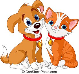 Cat and Dog - Illustration of best friends ever - Cat and...