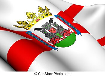 Flag of Vitoria-Gasteiz, Spain Close Up