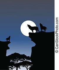 Wolf Howling - vector illustration of Wolf Howling