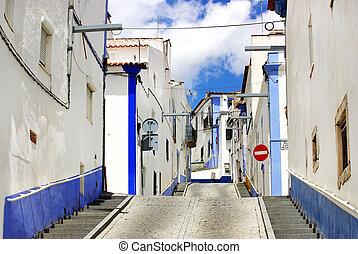 tradicional, calle, Alentejo, región, Arraiolos,...