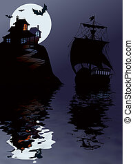 Halloween sailing - Sailing in Halloween night, perfect...