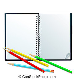 Sketchbook with pencils - Open sketchbook with colorful...