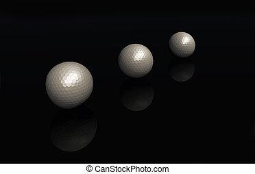3 golf balls 3D render
