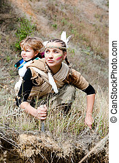 Red Indian girl in the image with your kid to hunt for prey....