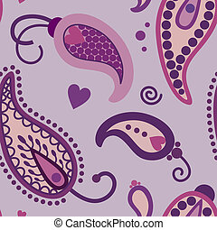 mango pattern - turquoise paisley vector pattern in  violet