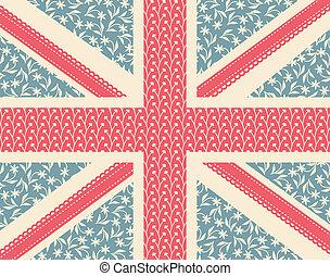 Floral Union Jack - Vintage floral British flag.