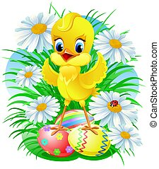 Easter chick with eggs , daisy and ladybug