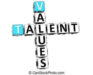 3D Talent Values Crossword on white background