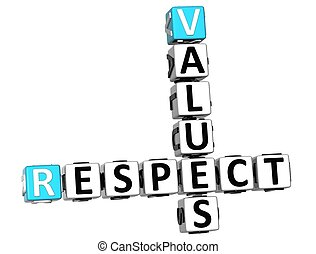 3D Respect Values Crossword on white background