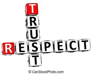 3D, respeito, confiança, crossword