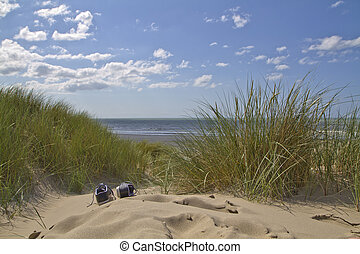 Sand dunes Landscape - Shoes on the sandy boardwalk over the...