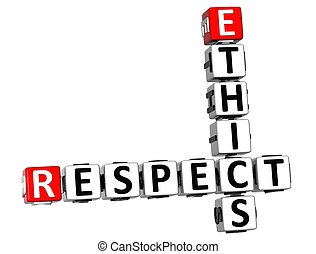 3D Ethics Respect Crossword on white background