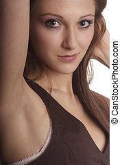 friendly woman - woman with brown hair and brown body warmer