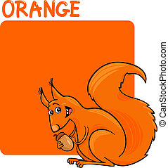 Color Orange and Squirrel Cartoon - Cartoon Illustration of...
